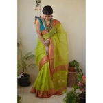 Handwoven Chanderi  silk saree with meena i bootis motif and border.