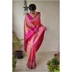 Handwoven Tussar Banarasi saree with allower kadhwa motif saree with jari border