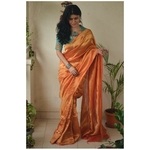 Handloom Twill linen saree blended with tissue blended