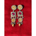 Handmade multicolour gold polish and silver earrings