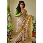 Handblock Printed Kota Silk Saree with handwoven organza natural dyed patch work border.