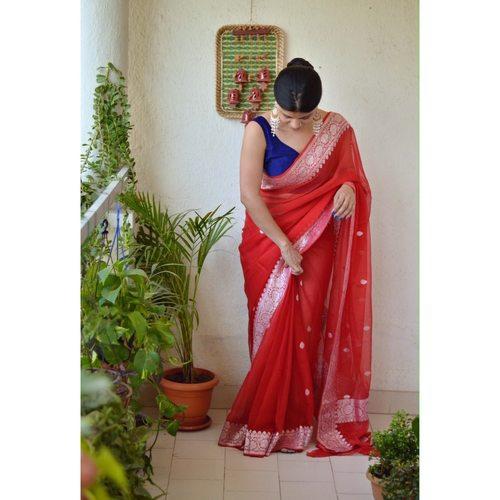 Handwoven kadiyal chiffon banarasi saree with silver jari.