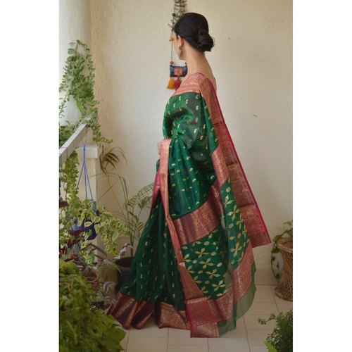 Handwoven Chanderi silk saree with meena  boots motif and handwoven motif border.