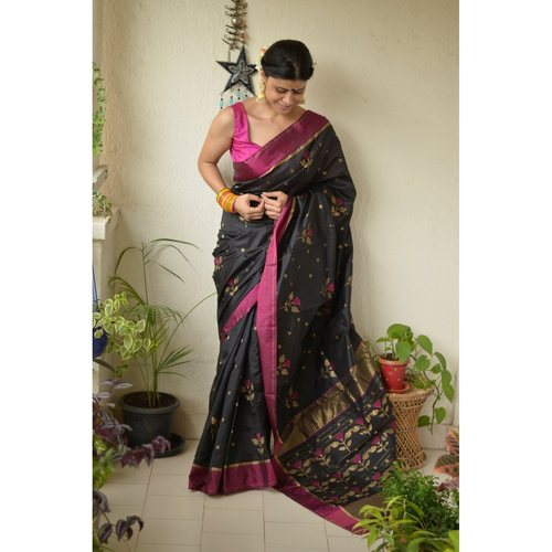 Handwoven Chanderi Pattu silk saree with flower motif and silk border