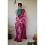Handwoven and handmade Malbari  silk  saree in  shibori