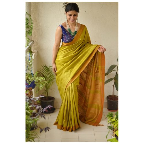Handwoven matka silk saree with aari silk pallu