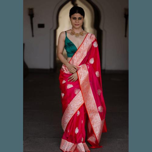 Pure katan silk kadwa handloom banarasi saree
