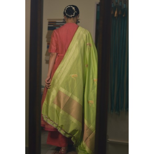 Handllom katan silk  meenakari motifs dupatta in resham and jari thread.