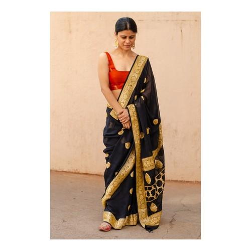 Handloom kadwa antique jari motifs georgette silk banarasi saree.