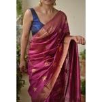 Handwoven Chanderi pattu  silk saree with jari border