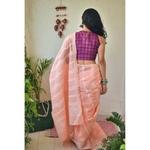 Hand embroidered and handmade cotton chikankari saree.