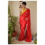 Handmade  Bandhani gaji silk saree