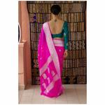 Handllom kahdwa chiffon Banarasi silk saree with woven motifs.
