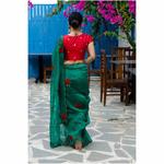 Handloom handembroidered organza resham silk saree enhanced with  beads scallops.