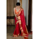 Handwoven organza kora banarasi silk saree with kadhwa border
