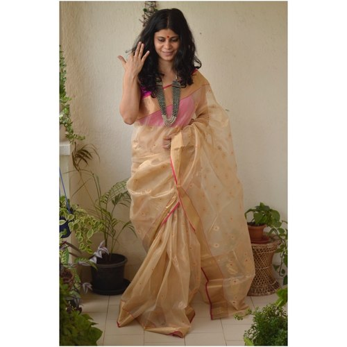Handwoven Chanderi silk  Tissue saree with meena boots motif