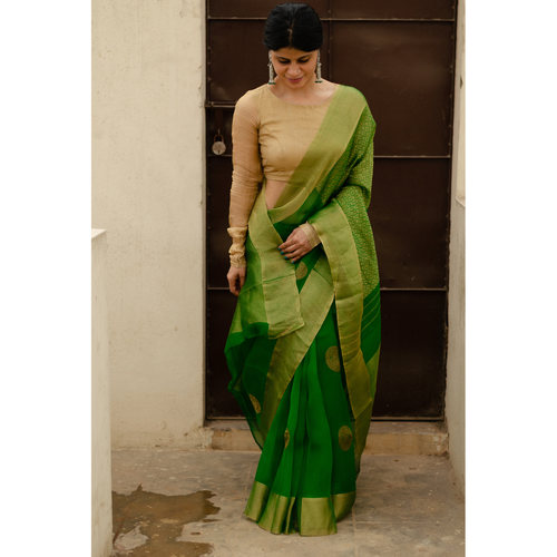 Soft  silk organza saree with goldan zari  border.