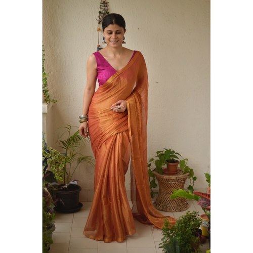 Handwoven metallic linen saree.