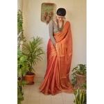 Hand-woven metallic linen saree