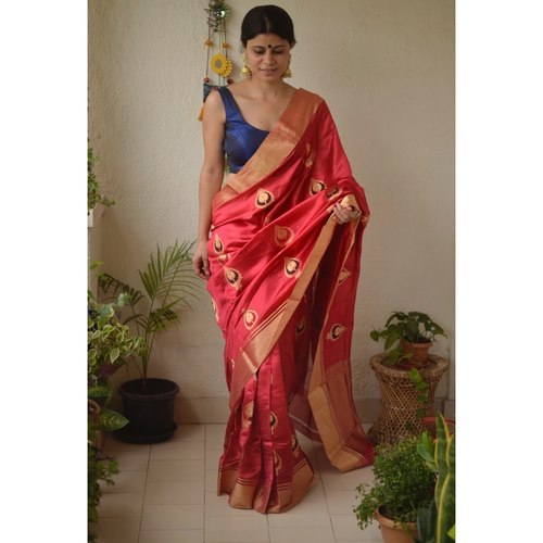 Handwoven Chanderi pattu  silk saree with jari border