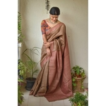 Handwoven Tussar silk saree with  hand embroidered by silk thread