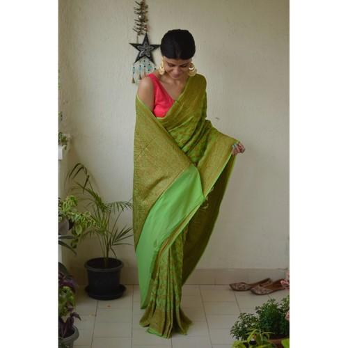 Handwoven Banarasi khaddi georgette jail motif saree