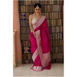 Handwoven kadhwa moonga silk Banarasi silk saree with woven motifs border.