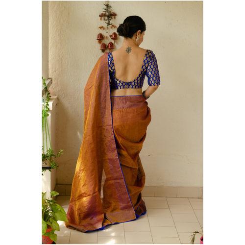 Handloom Metallic linen with  inside patch borders in raw silksatin silkcrepe silk.