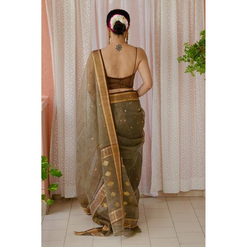 Handloom resham silk chanderi saree with woven motifs all over the sarees.