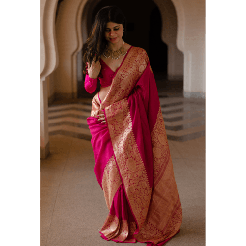 Pure moonga silk kadwa handloom banarasi saree