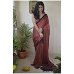 Handblock print  modal ajrakh silk  saree.