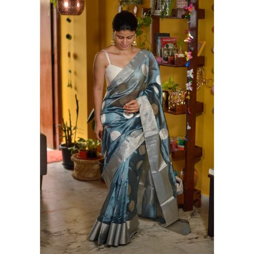 Handwoven Chanderi pattu  silk saree with jari motif