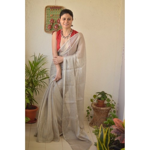 Handwoven metallic linen saree with silver/ golden jari bootis