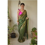 Handwoven khaddi georgette banarasi saree with running blouse.