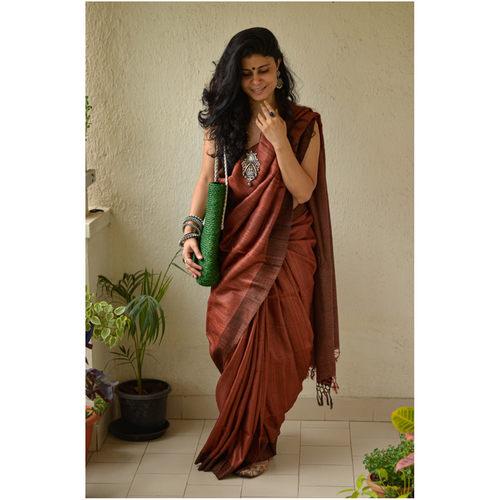 Handwoven Jute mix geecha tussar silk saree
