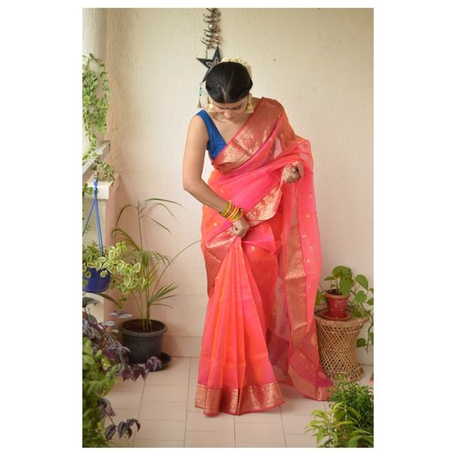 Handwoven Chanderi Tissue silk saree with booties motif and jari border