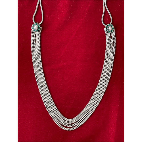 Handmade silver neg neckpiece in strings.