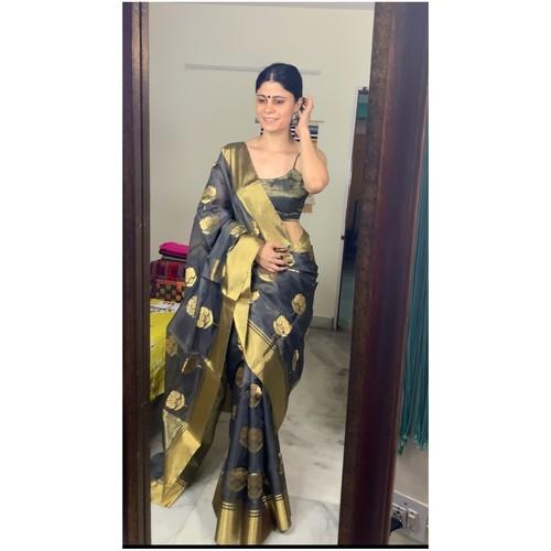 Handwoven chanderi silk saree with gold border and meenakari motifs