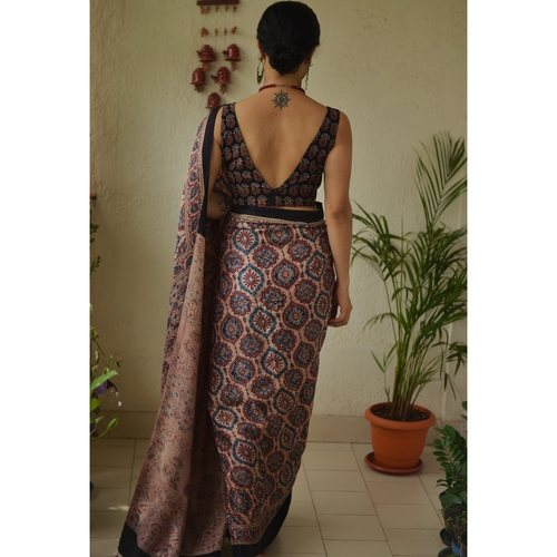 Handblock printed and handmade natural dyed gajji silk Ajrakh  saree.