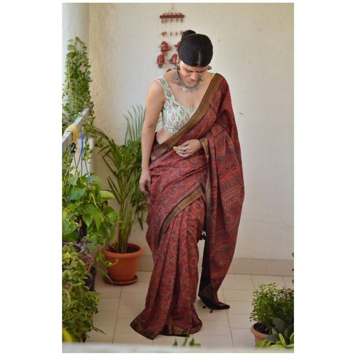 Ajrakh Handblock print mangalgiri cotton  saree with jari border.