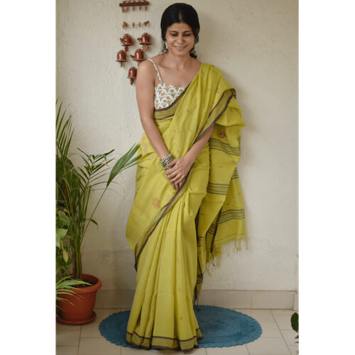 Handwoven muslin cotton saree