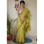 Handwoven muslin cotton saree