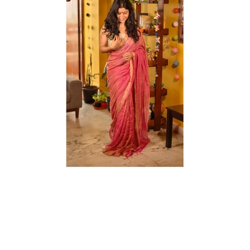 Handwoven Jari blended Linen Saree.