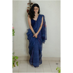 Hand block printed kota doria saree with hand embroidered.