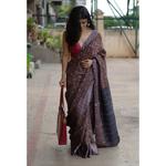 Handblock printed  ajrakh and handmade  processed natural dyed handwoven twill silk linen saree with resham zari