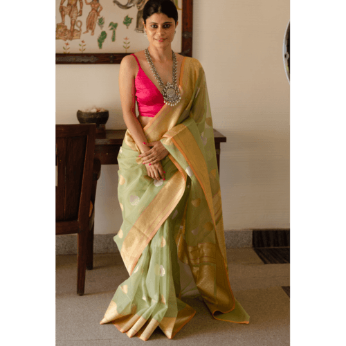Pure organza silk handloom banarasi saree