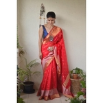 Handwoven Chanderi  patty silk saree with meena bootis motif and border.
