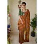 Handblock printed and handmade natural dyed Crepe silk Ajrakh  saree.