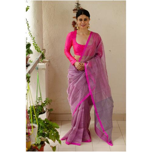 Handloom chanderi silk saree with jari striped