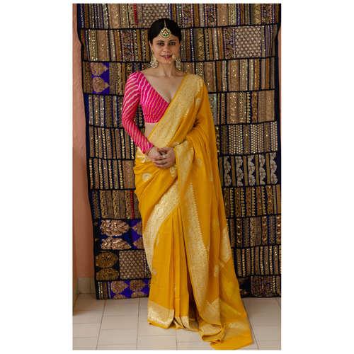 Handloom kadhwa chiffon silk  banarasi saree with silver gold jari motifs.